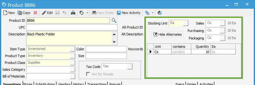 Hide Alternates button in Product Information window