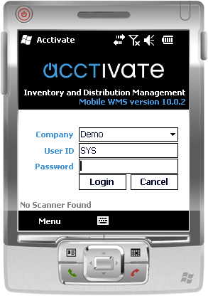 Acctivate install mobile - Login