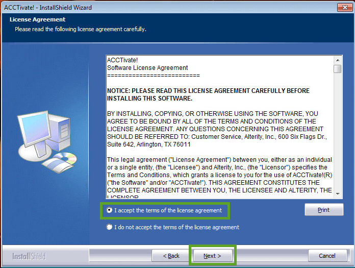 Acctivate Server - License Agreement window