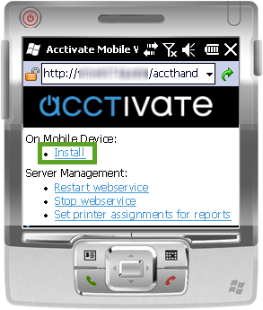 Acctivate Web Service page on mobile