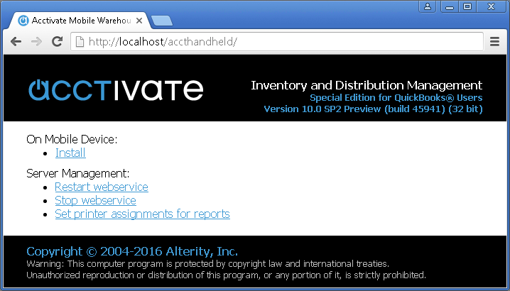 Acctivate Web Service - Status page on mobile