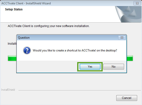 Acctivate workstation - Create Shortcut window