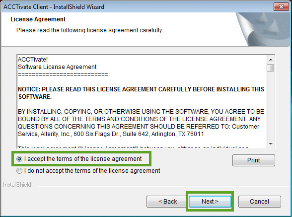 Acctivate workstation - License Agreement window