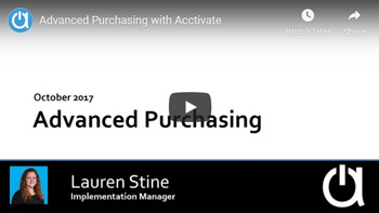 Acctivate Webinar: Advanced Purchasing