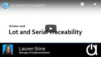 Addon Modules Webinars: Lot and Serial Traceability