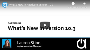 Acctivate Webinar: What's New in Version 10.3