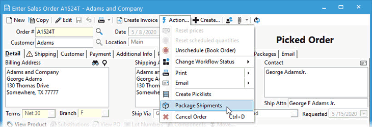 Create a shipment from a Sales Order using the Action menu.