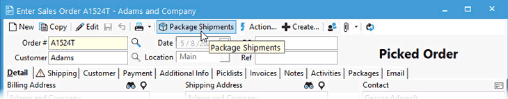 Create a shipment from the Sales Order using the next action button of package shipments