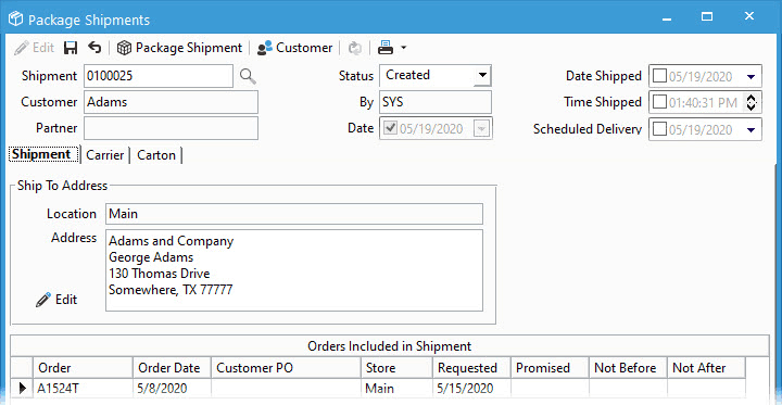 Create a shipment using Acctivate's Packaging Manager