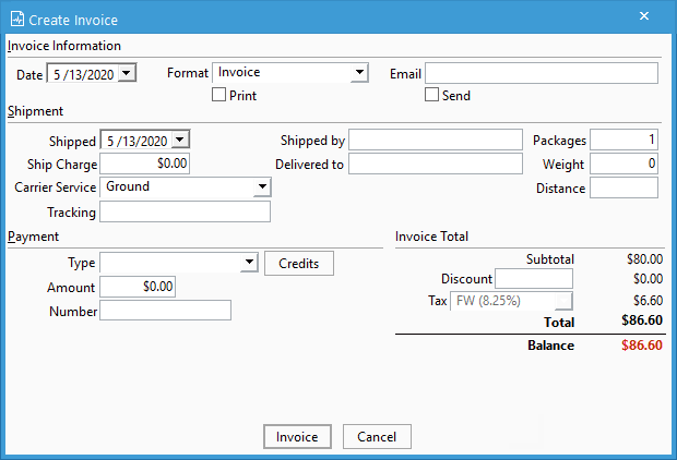 Creating invoices window to invoice a single sales order