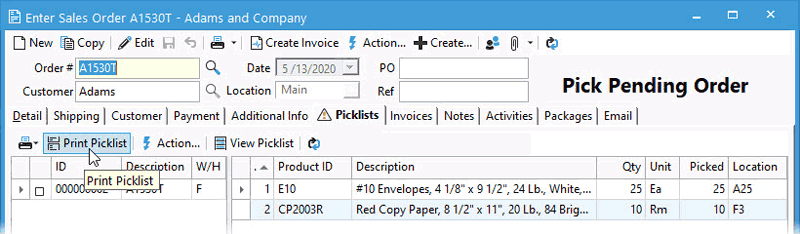 Pick list print button on Picklists tab from Sales Order