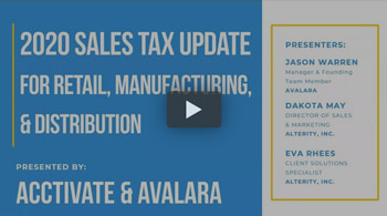 Webinar: 2020 Sales Tax Update for Retail, Manufacturing, and Distribution