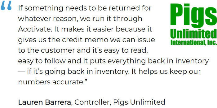 Product Returns Management in Acctivate simplifies the returns process for Pigs Unlimited